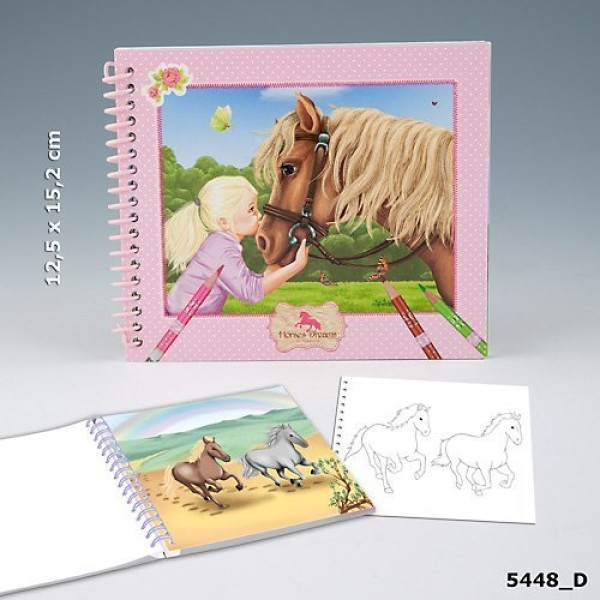 Карманный блокнот для раскрашивания с наклейками Horses Dreams 5448_D производства Depesche
