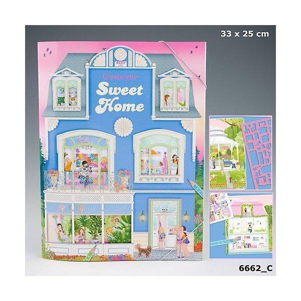 Альбом для раскрашивания с наклейками и трафаретом Create your Sweet Home - 6662_C производства Depesche