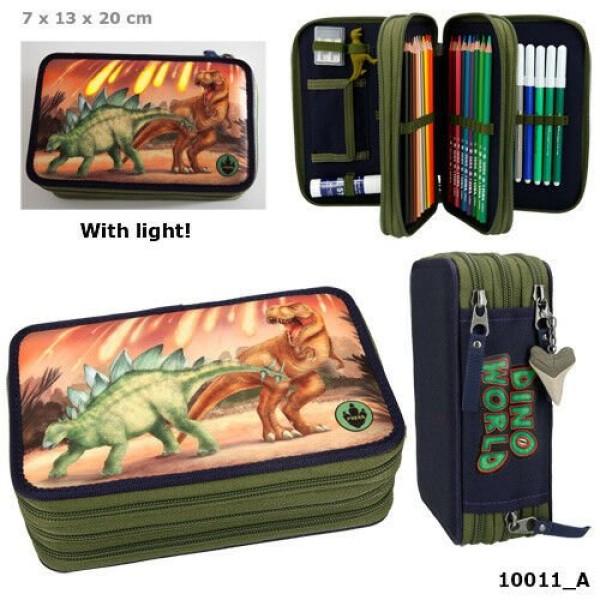 Пенал с наполнением и подсветкой Динозавры Dino World  - 10011_A
