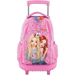 Рюкзак TOPModel школьный на колесах Панда, розовый - 10618