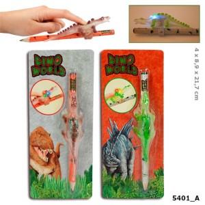 Карандаш простой с динозавром и подсветкой Dino World - 5401_A