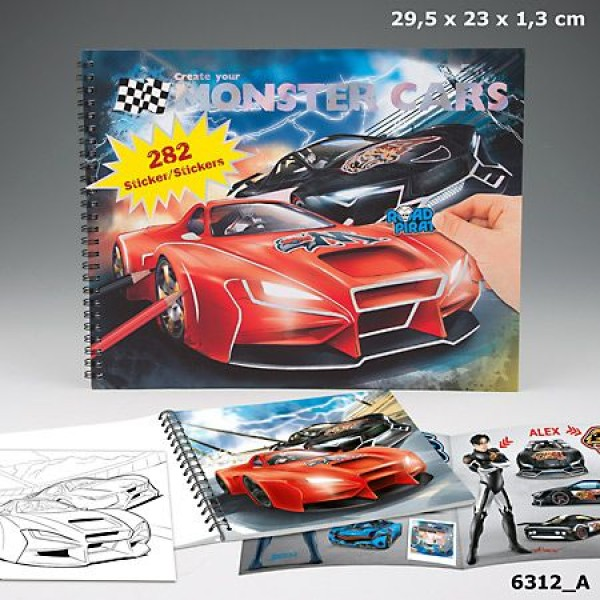 Альбом для раскрашивания Monster Cars - Создай крутой автомобиль - 6312_A