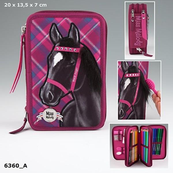 Пенал с наполнением Лошадь, бордовый Miss Melody - 6360_A производства Depesche