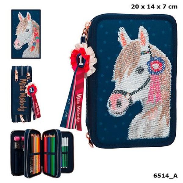 Пенал с наполнением Лошадь,синий Miss Melody - 6514_A производства Depesche