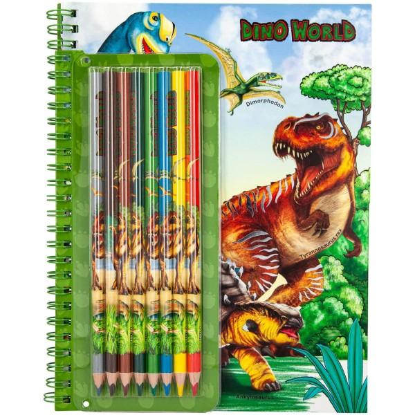 Альбом Dino World для раскрашивания с набором цветных карандашей - 6852