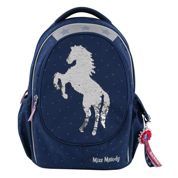 Рюкзак школьный пайетки, синий Miss Melody - 7726_A