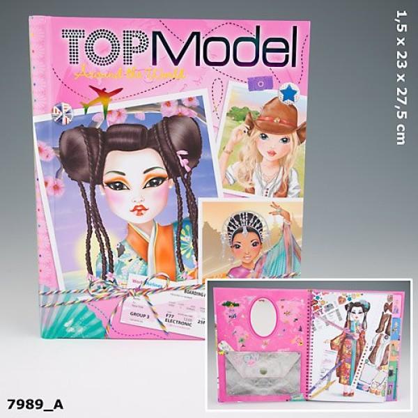Альбом  раскраска с наклейками и зеркалом  TOP Model - Around the World - Вокруг Мира -7989_A