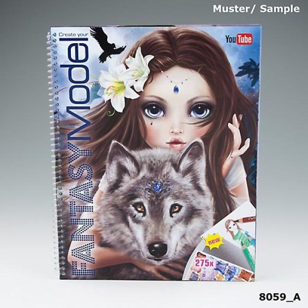 Альбом TOP Model Fantasy для раскрашивания с наклейками и трафаретом + YouTube - 8059_A производства Depesche