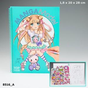 Альбом для раскрашивания с наклейками TOPModel Manga  - 8516_A